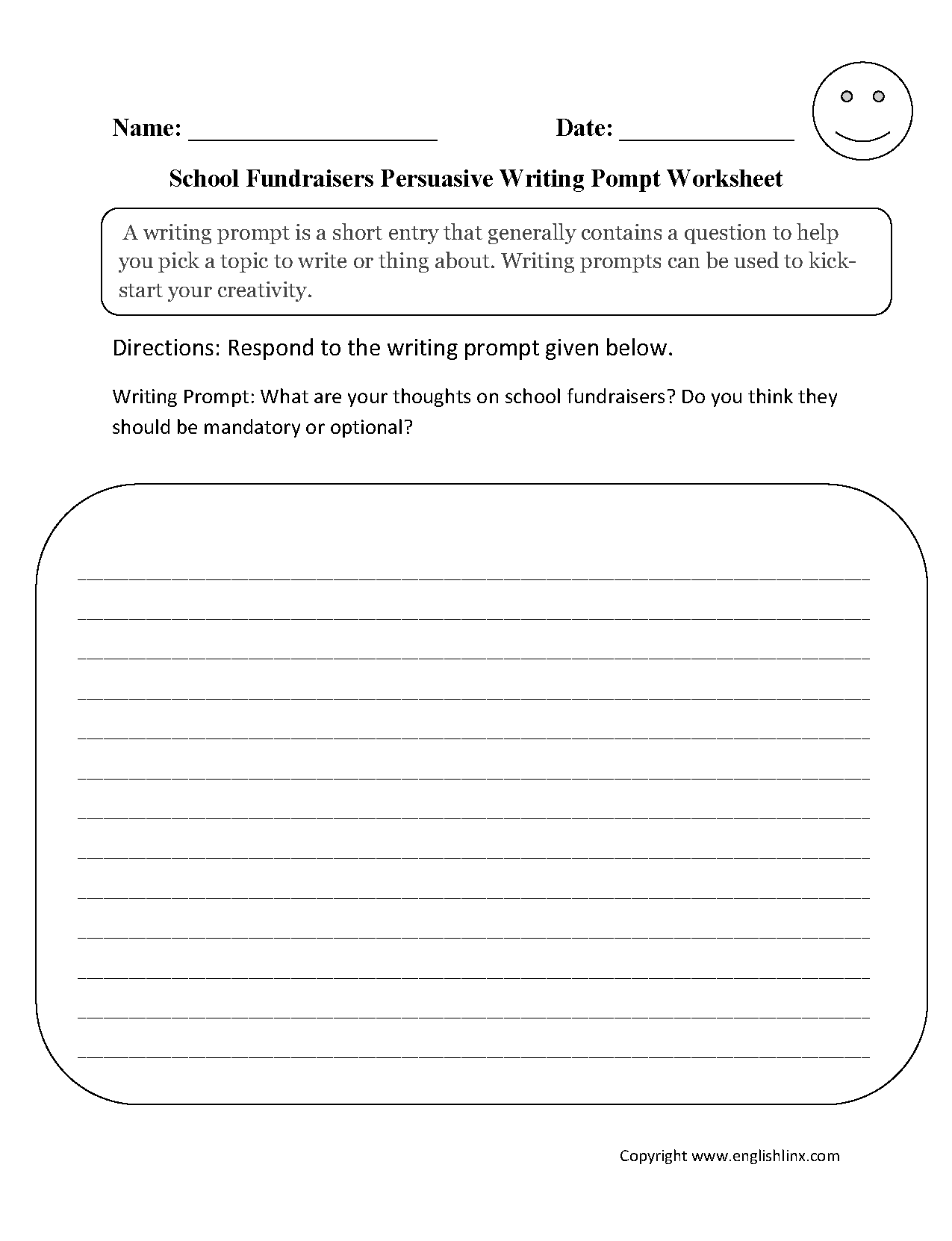 Fundraisers Persuasive Writing Prompt Worksheet