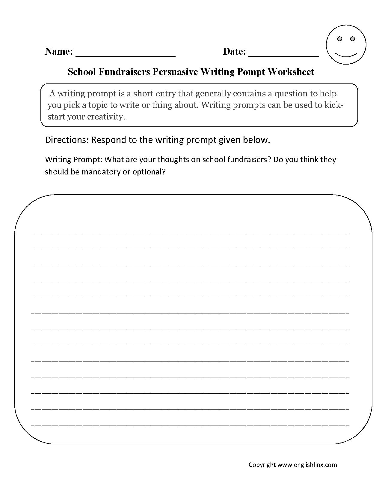 Fundraisers Persuasive Writing Prompt Worksheet