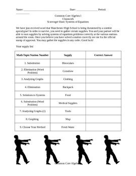 Solving Systems of Equations Scavenger Hunt | Teaching ...