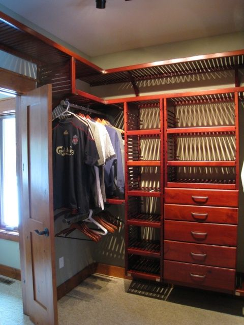John Louis Home Red Mahogany Solid Wood Closet Organizer For Walk Through  Bedroom.