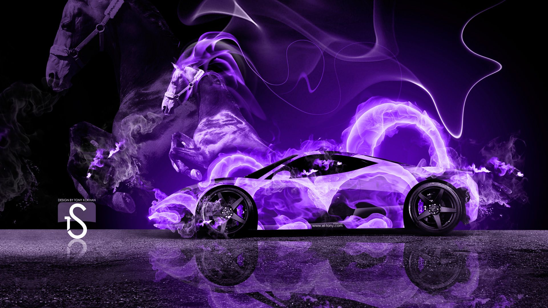 Neon Purple Flames | Ferrari Italia Fire Abstract Car 2013 Ferrari 458  Italia Back Fire .