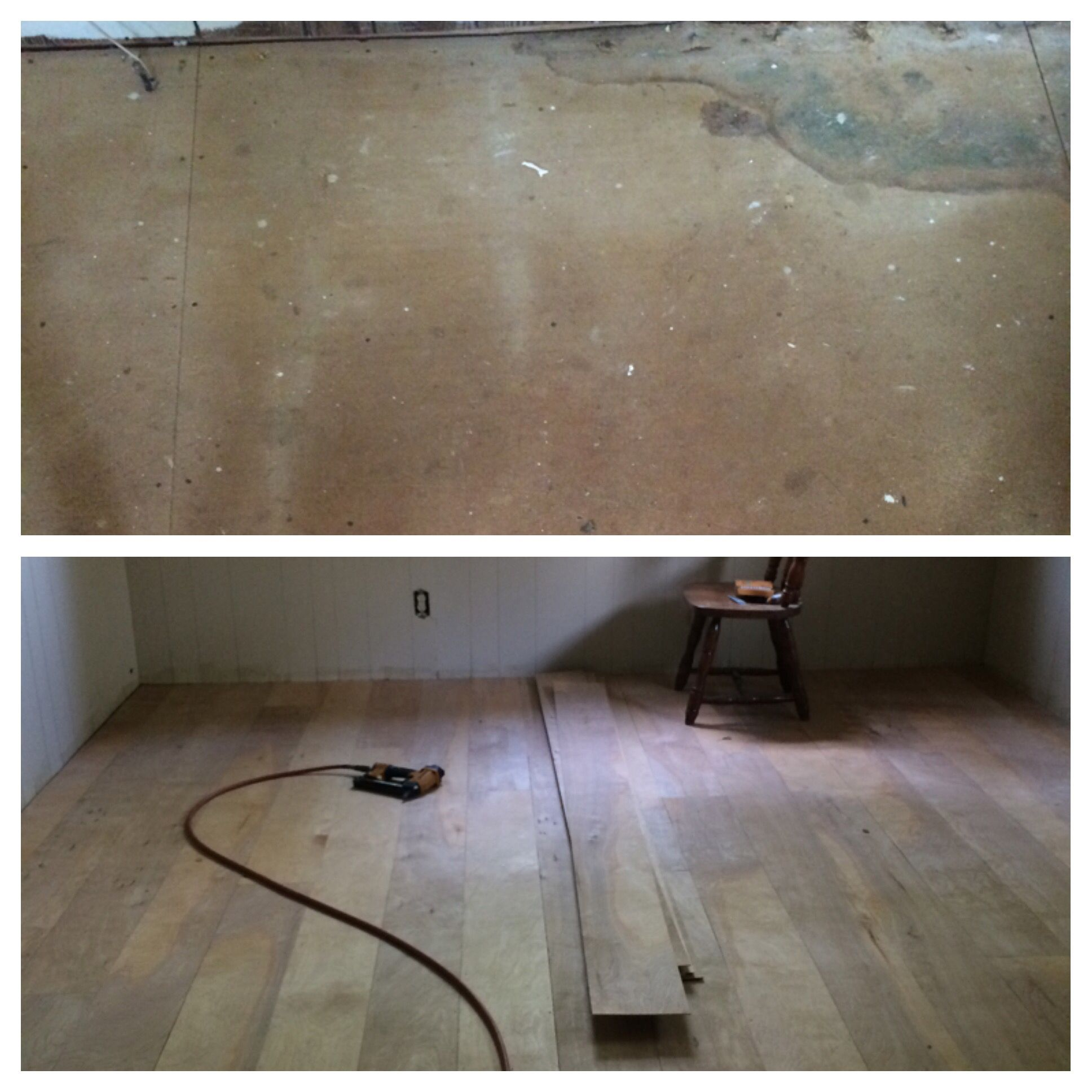 New flooring using hardwood utility panel Before and after pre