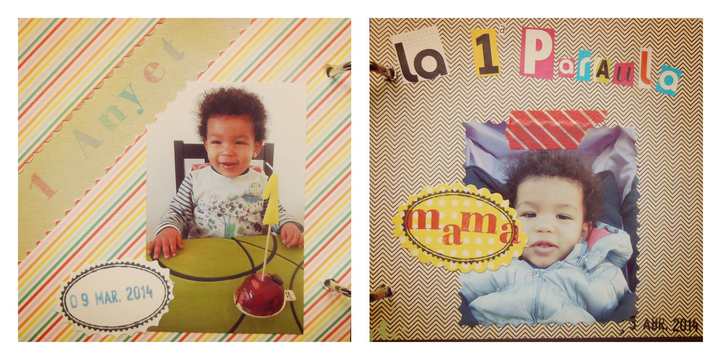 Album de scrapbook con sellos de goma