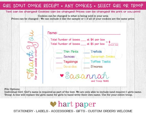 Girl Scout Cookie Order Receipt Thank You Card Reorder Printed - how do you make a receipt