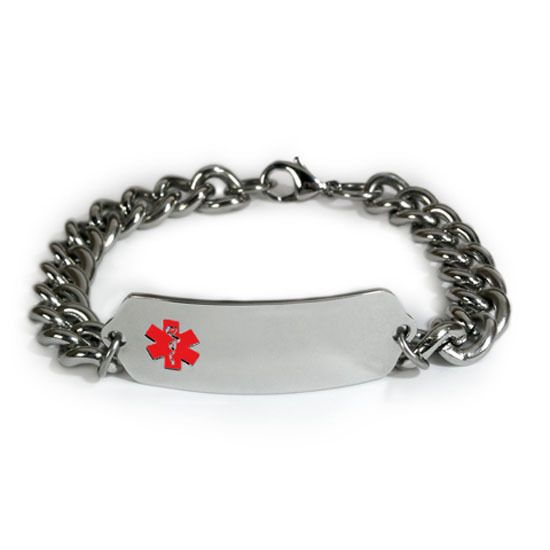 Medical Alert Id Bracelet With Wide Chain Emblem Free Wallet Card