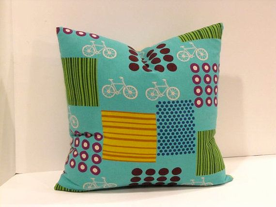 Turquoise Bicycle Print  Playful Pillow Cover /18 by ShopJanery on Etsy