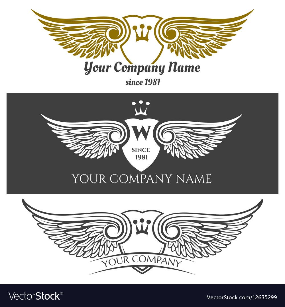 Black angel wings logo set winged labels with Vector Image ,