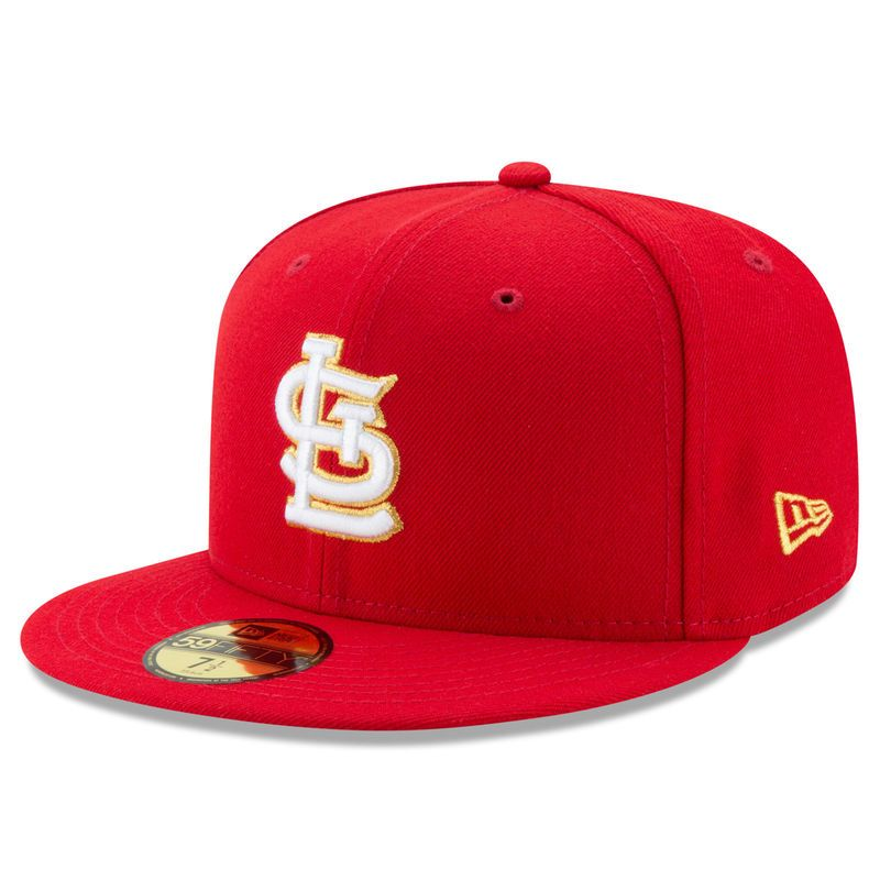 St. Louis Cardinals New Era Gold City 59FIFTY Fitted Hat - Red