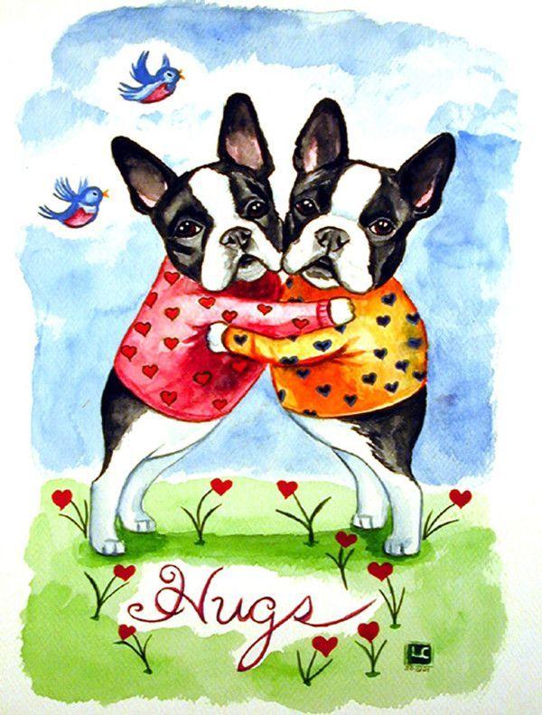 Hugs Boston Terrier 2 Sided Garden Flag