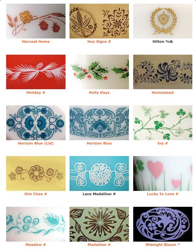 Pyrex PatternsClick On The Image For All On The Website Pyrex Love Interesting Rare Pyrex Patterns