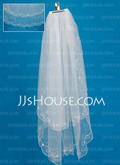 Wedding Veils - $16.99 - Two-tier Fingertip Bridal Veils With Finished Edge (006035493) http://jjshouse.com/Two-Tier-Fingertip-Bridal-Veils-With-Finished-Edge-006035493-g35493