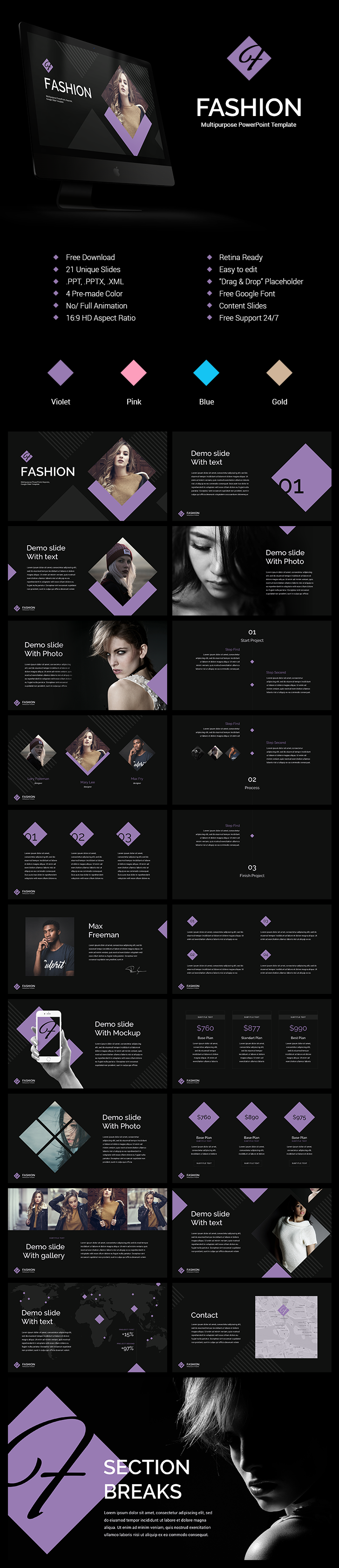 Fashion powerpoint templates free download 21 unique slides 4 fashion powerpoint templates free download 21 unique slides 4 pre made color toneelgroepblik Gallery