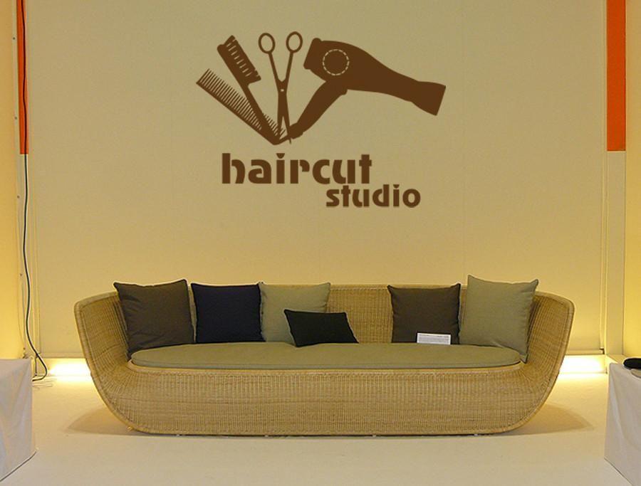 ik885 Wall Decal Sticker barber shop haircut studio brush comb ...