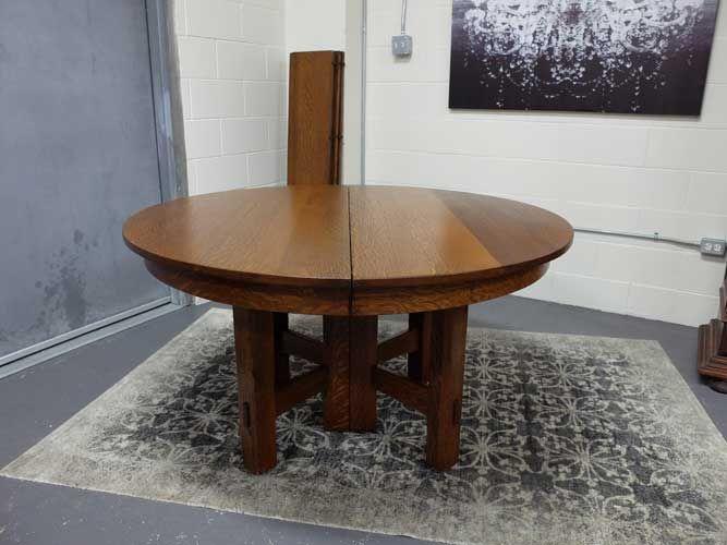 Antiques By Design   Mission Oak Split Pedestal Dining Table With 6 Leaves
