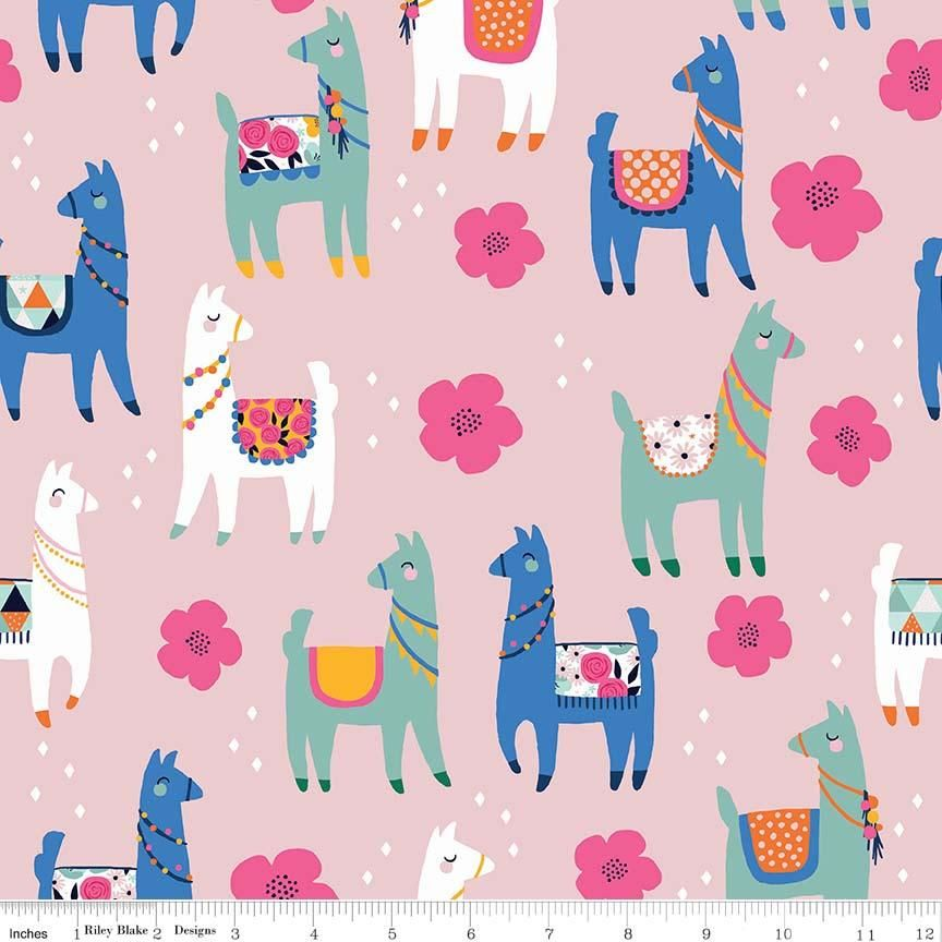 Llamas fabric Riley Blake Designs Llamas and large flowers on white.