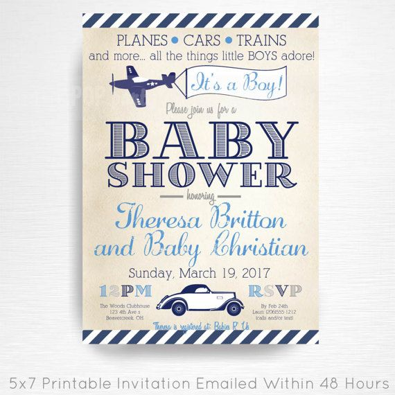 Planes Trains Automobiles Baby Shower Party Printable Invitation YOU Vintage Navy Blue Grey  This is an emailed file, nothing will be shipped to you. Please include your childs name, age and party details in the notes to seller section at checkout.  We will email your high-resolution, print-ready file within 48 hours of receiving your party details and photo (if photo invitation has been purchased please email your photo to amy [at] printpopparty.com).  Your invite will be formatted to print…