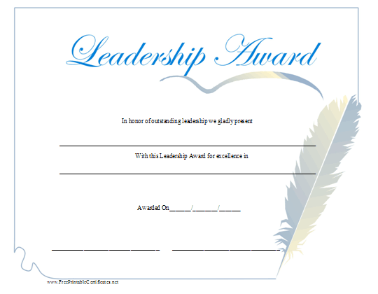 a leadership award with a blue script title and a feather