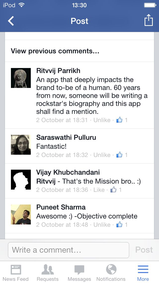 Ritvvij Parrikh, in a comment on Facebook