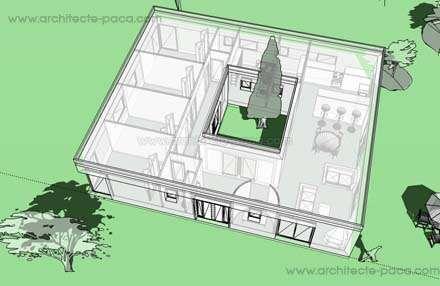 Plan De Maison Ordonnancée Sur Un Patio Central Définissant