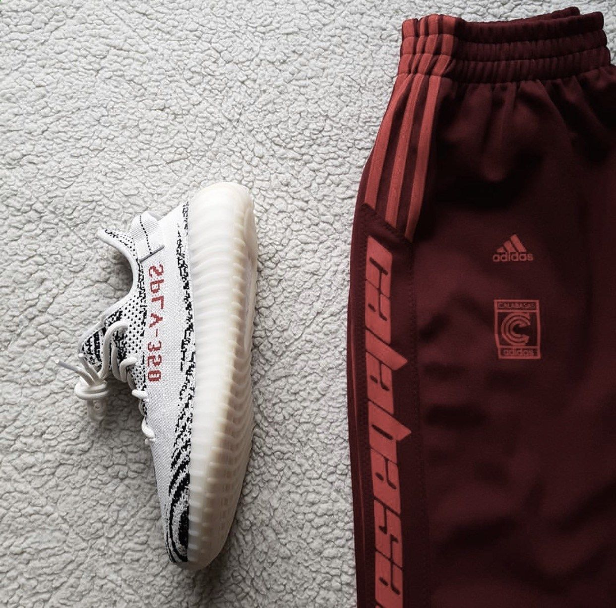 online retailer 02572 869ec Adidas Yeezy Boost 350 V2 Zebra with all-new Calabasas sweat pants.