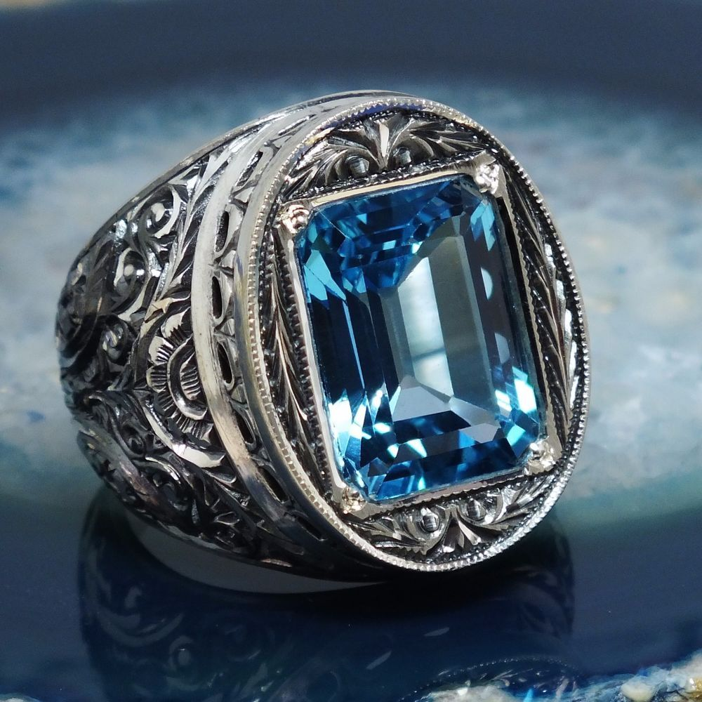 Ring Blue Topaz Sterling Silver unique handcrafted mens jewelry #KaraJewels #Handcarved