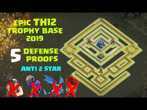 UPDATED Epic Town Hall 12 (TH12) Base 2019 with 5 Defense Proof