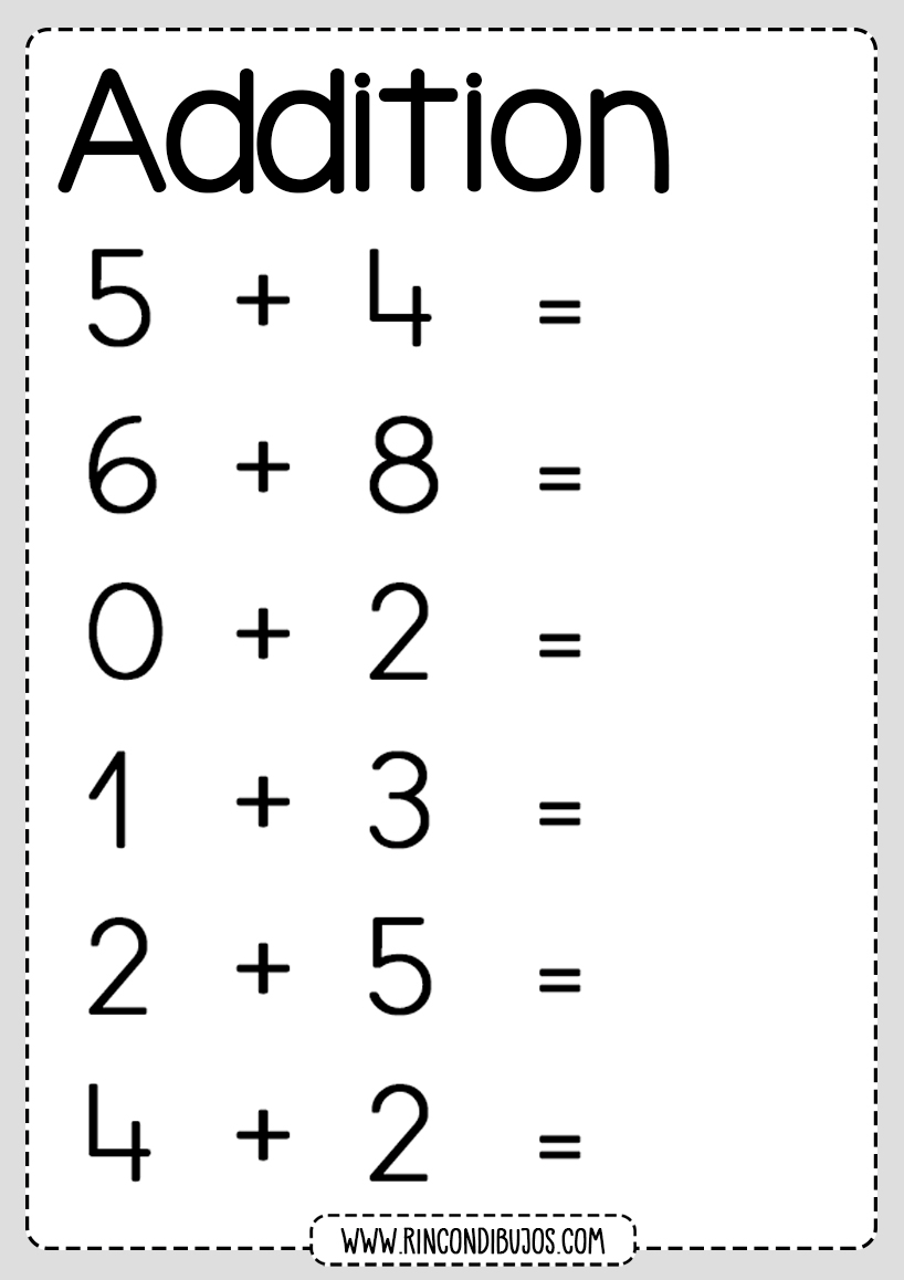 Mathematics Addition Worksheets Rincon Dibujos Kindergarten Addition Worksheets Kindergarten Worksheets Addition Worksheets [ 1158 x 818 Pixel ]