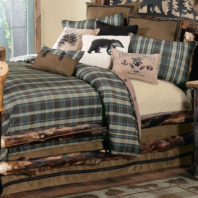 Hadley Plaid Bedding Collection Rustic Bedroom Furniture Rustic Bedroom Design Cabin Bedroom