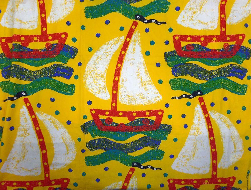 Swedish Kyrss Design Sailboat Fabric Agneta Hansson Cotton Primary Colors #KyrssDesign