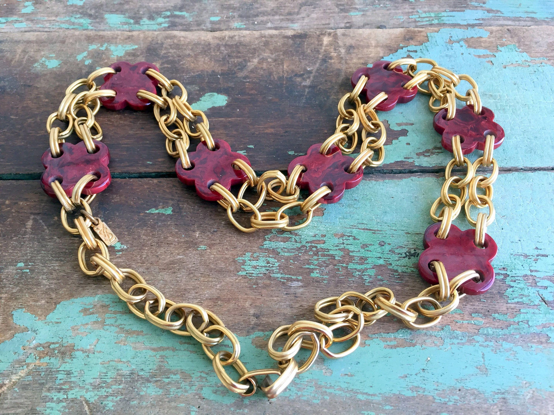 Vintage yves saint laurent ysl goldtone chain necklace belt burgundy