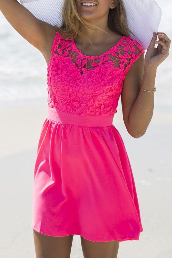 Lace Spliced Sleeveless A Line Dress -Vestido pink com renda