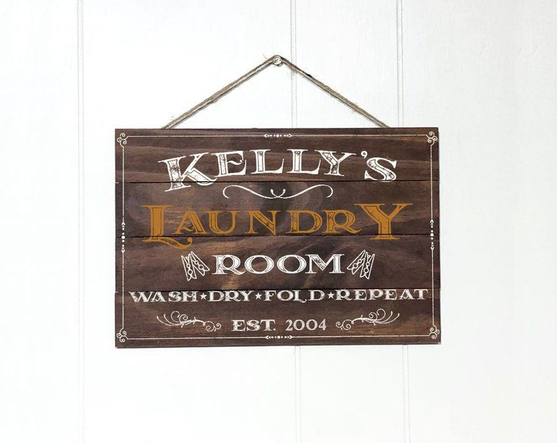Personalized Laundry Room Decor Sign Custom Rustic Wood Laundry Sign Wood Signs Rustic Kitchen Decor Vintage Garden Decor