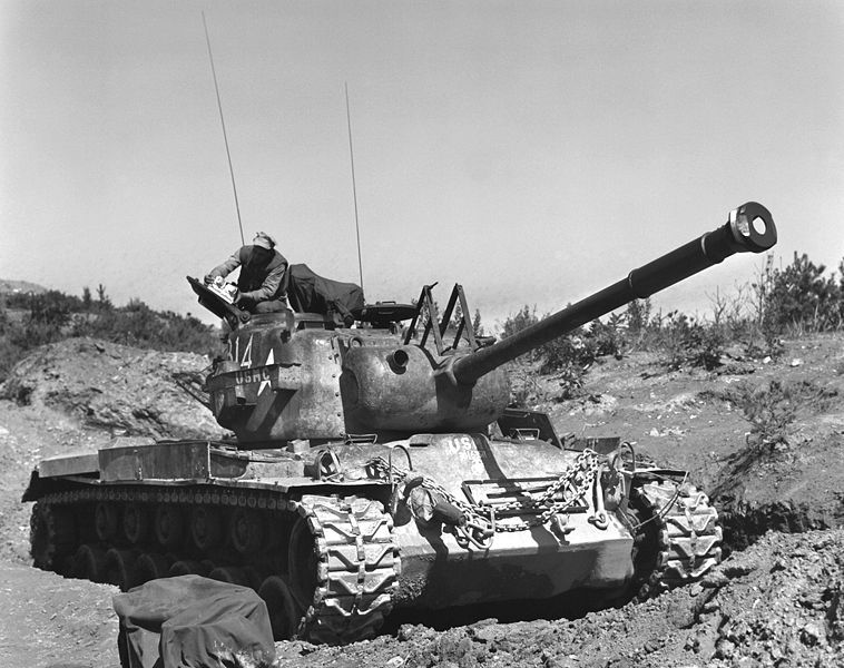 US Marines and their M-46 Patton tank