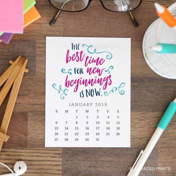 e9423674df1 Printable 2019 Desk Calendar - 12 month Inspirational and Motivational Quote  Calendar - Stocking Stu