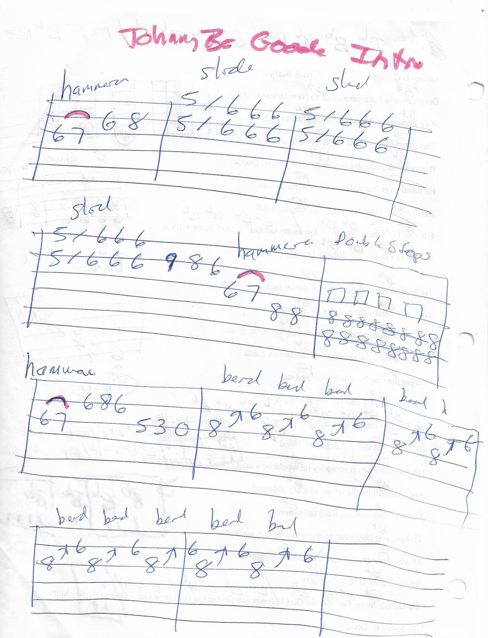 Johnny B Goode Chuck Berry Guitar Intro Solo Tab Page 1 Of 2