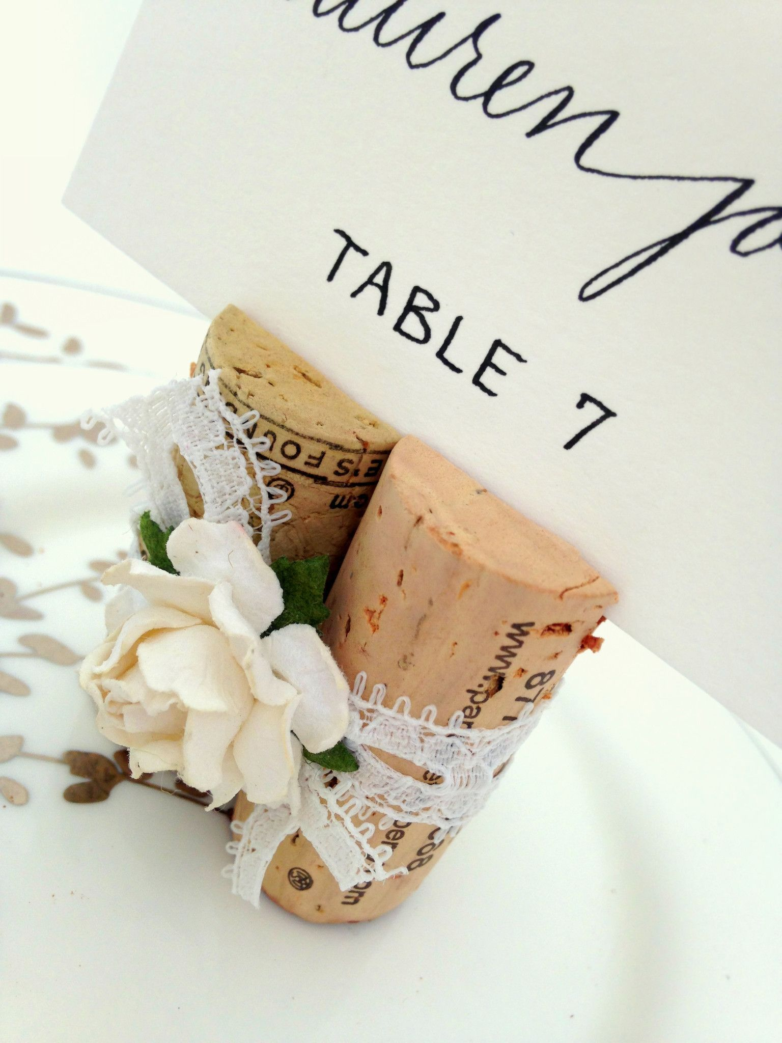 Vintage style lace & wine corks fashion a lovely Place Card Holder ...