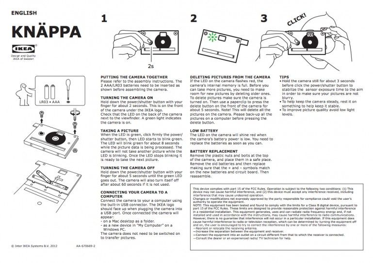 KNÄPPA is a flat-pack cardboard digital camera from IKEA Itu0027s - operation manual