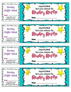 reading raffle tickets reading incentive classroom beginning of