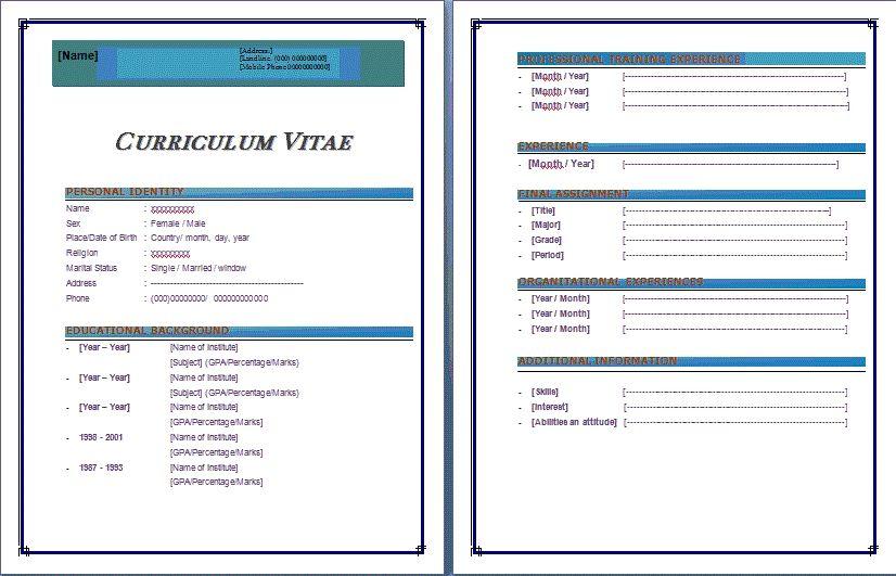 Resume Format In Microsoft Word 2007 Bazarbalzer Resume Template Word Microsoft Word Resume Template Resume Template Free