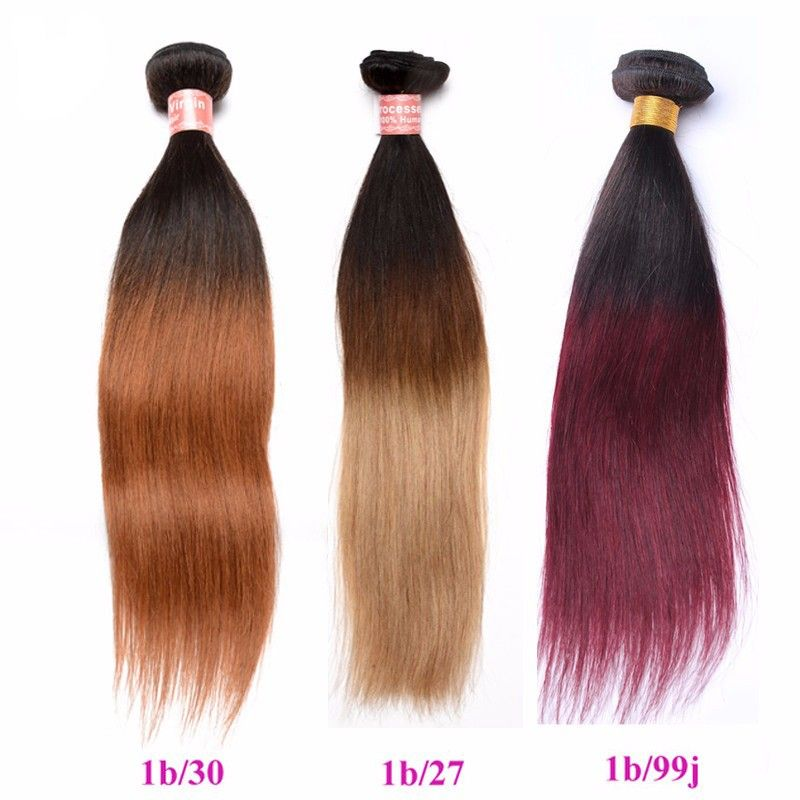 Silk Straight 1B/30 Ombre Color Brazilian Virgin Human