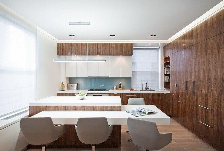 wohnküche mit kochinsel in holz und weiß   wohnidden   pinterest   led - Kchen Modern Mit Kochinsel