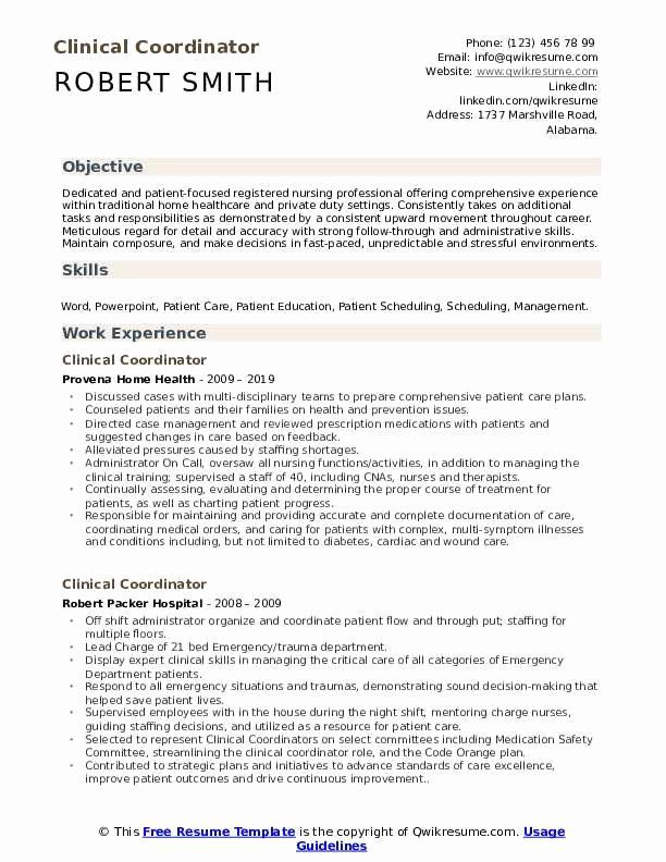 20 Clinical Research Coordinator Resume In 2020 Downloadable