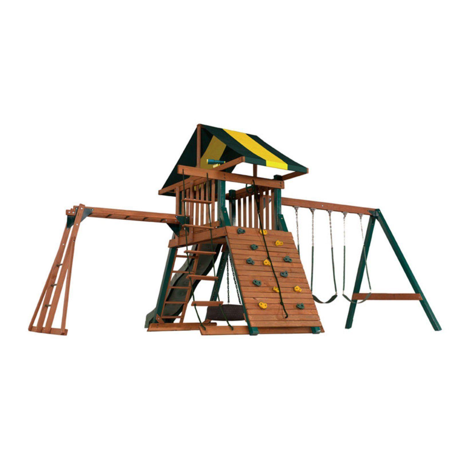 Backyard Play Systems Wood Castle Rock Swing Set