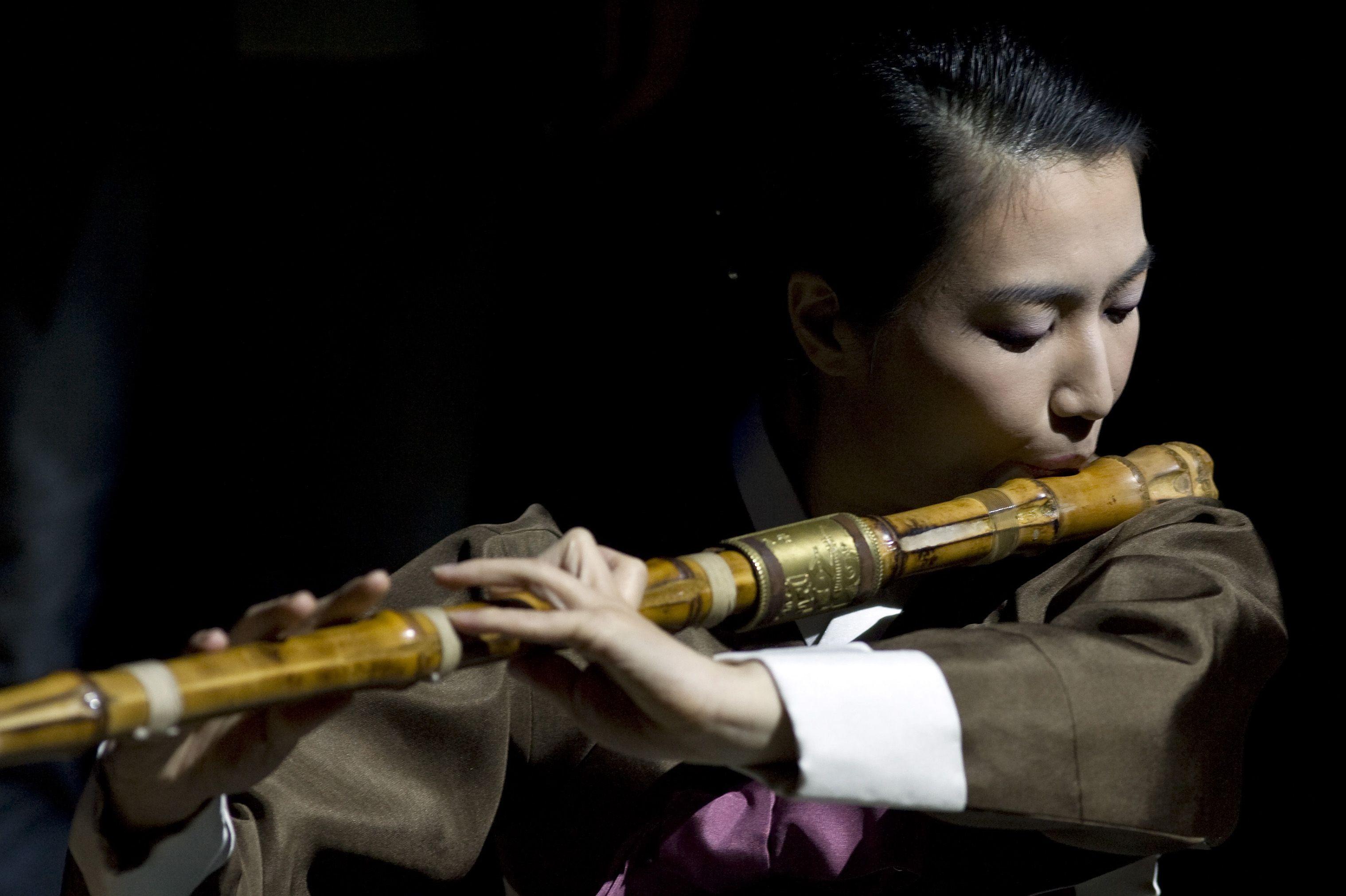 Playing the Korean Daegeum flute