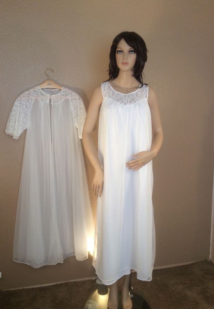VTG 60s Miss Elaine Peignior Set Triple Chiffon Robe & Nightgown Medium ~ Sissy #MissElaine #NylonTimeWarp