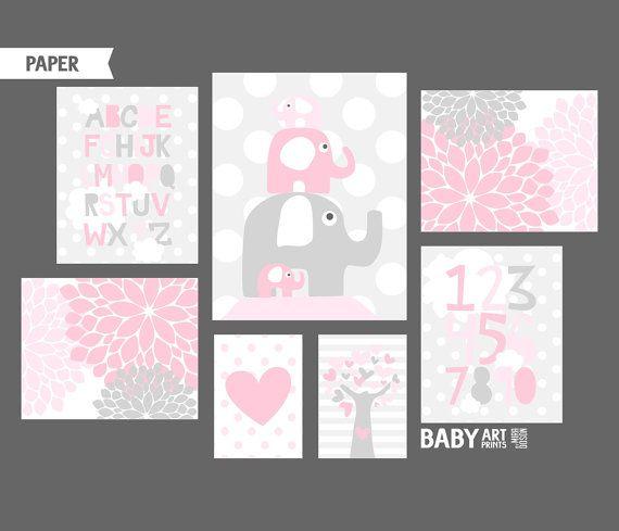 Impresiones de arte infantil de niña rosado y gris elefante ...