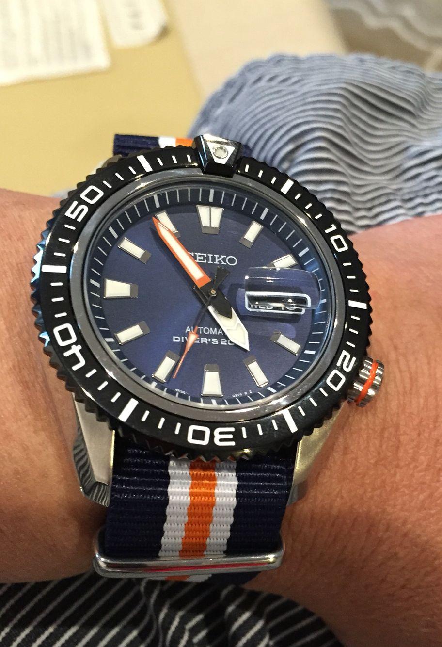 354b98648b Blue white orange Nato strap Seiko 5 Sports