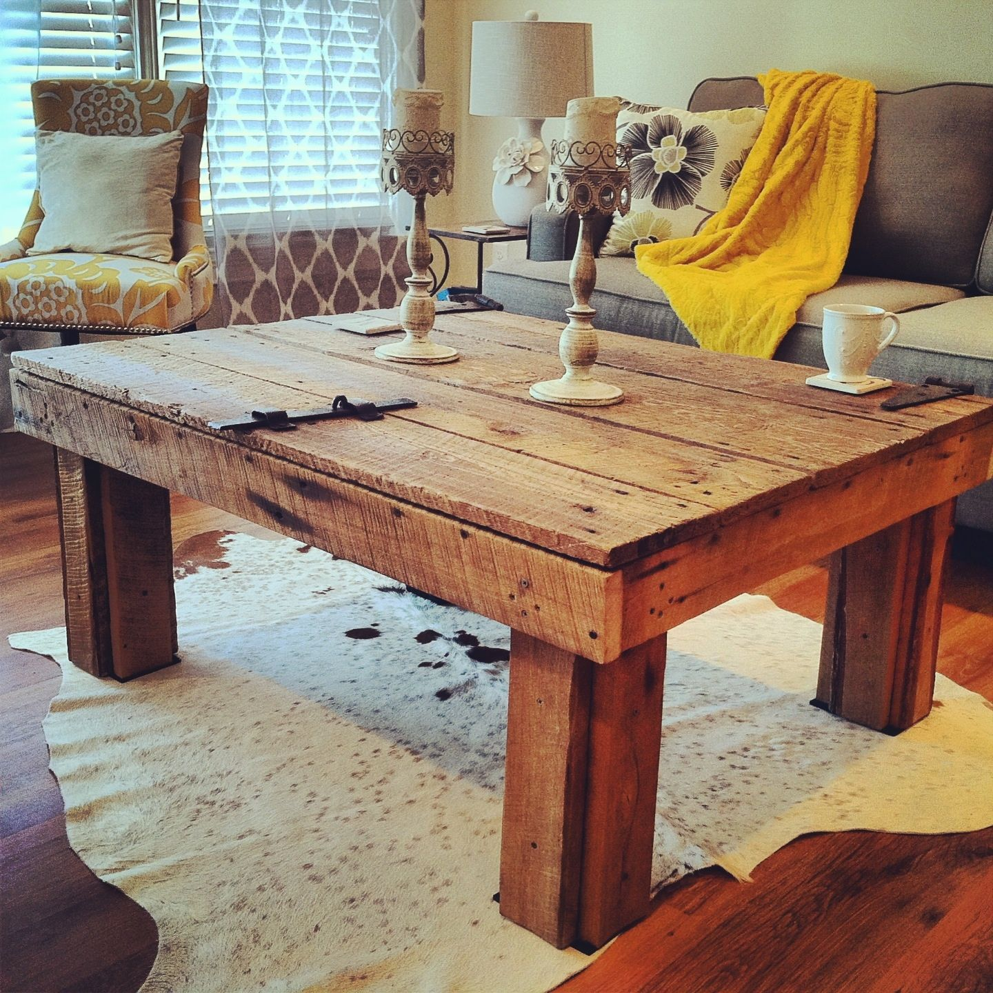 Our homemade barn door coffee table. ~100-year-old wood ...
