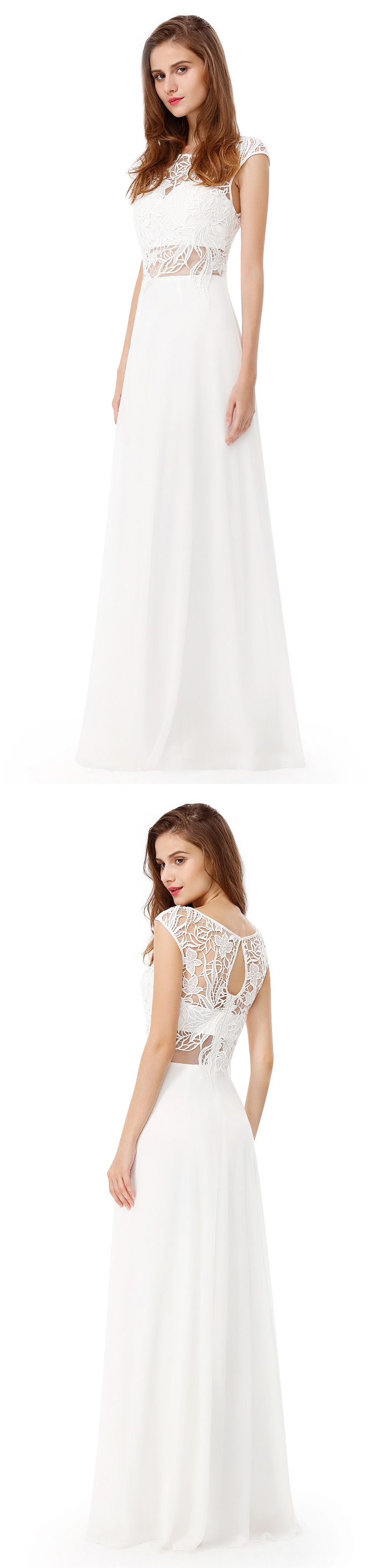 Long white lace formal evening prom dress long prom homecoming