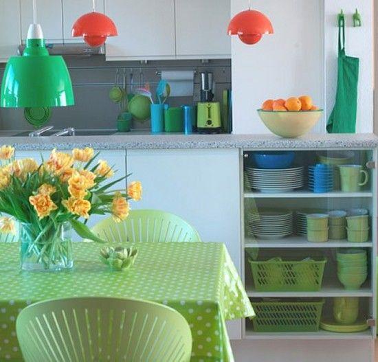 como-decorar-una-cocina-verde-manzana | Ideas para el hogar ...